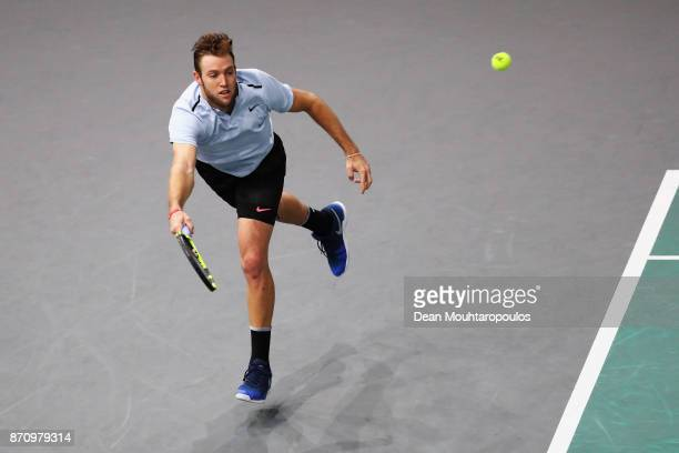 Jack Sock of the USA returns a forehand against Filip Krajinovic of Serbia during the Mens Final on day 7 of the Rolex Paris Masters held at the...