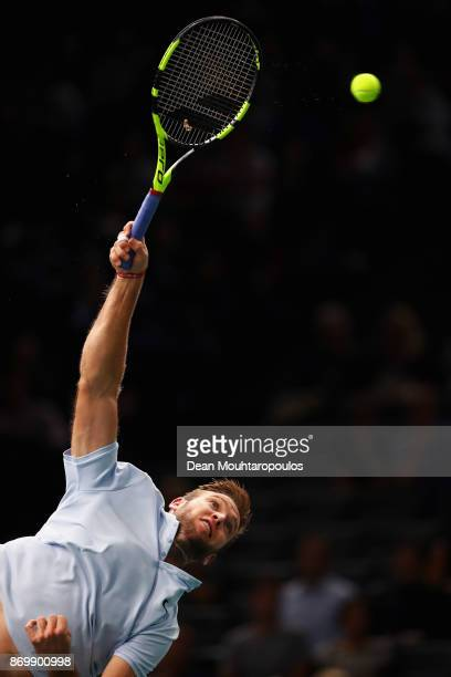 Jack Sock of the USA serves against Fernando Verdasco of Spain during Day 5 of the Rolex Paris Masters held at the AccorHotels Arena on November 3...