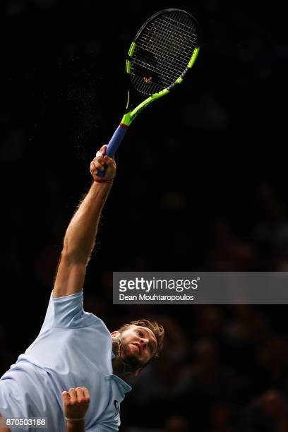 Jack Sock of the USA serves against Filip Krajinovic of Serbia during the Mens Final on day 7 of the Rolex Paris Masters held at the AccorHotels...