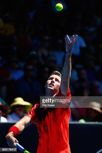 Jack Sock of the USA serves during his singles final against Roberto Bautista Agut of Spain on day six of the ASB Classic at the Stanley Street...