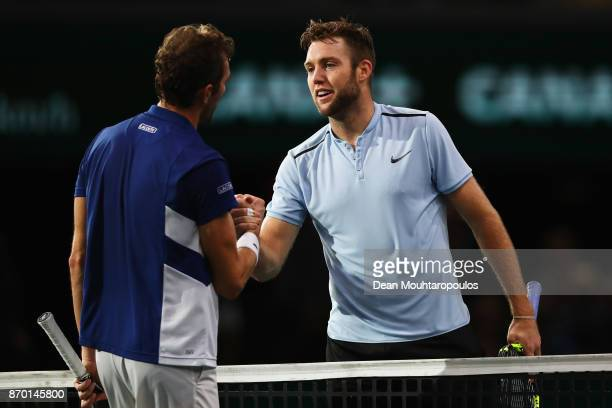 Jack Sock of the USA shakes hands after victory with opponent Julien Benneteau of France during the semi finals on day 6 of the Rolex Paris Masters...