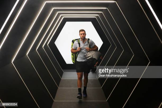 Jack Sock of the USA walks out the players tunnel to play his match against Fernando Verdasco of Spain during Day 5 of the Rolex Paris Masters held...