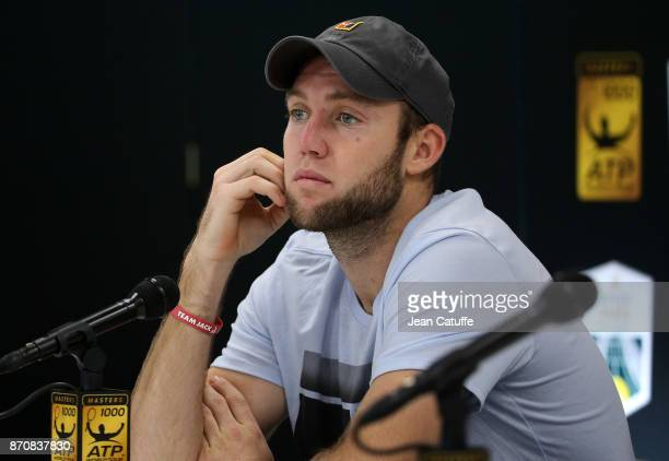 Jack Sock of USA answers to the media after winning the final against Filip Krajinovic of Serbia on day 7 of the Rolex Paris Masters 2017 a Masters...