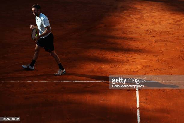 Jack Sock of USA celebrates a point in his match against David Ferrer of Spain during day one of the Internazionali BNL d'Italia 2018 tennis at Foro...