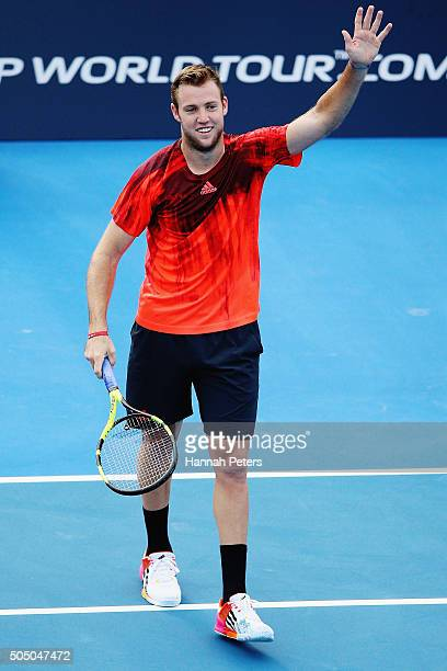 Jack Sock of USA celebrates after winning his semi final match against David Ferrer of Spain during day five of the 2016 ASB Classic at the ASB...