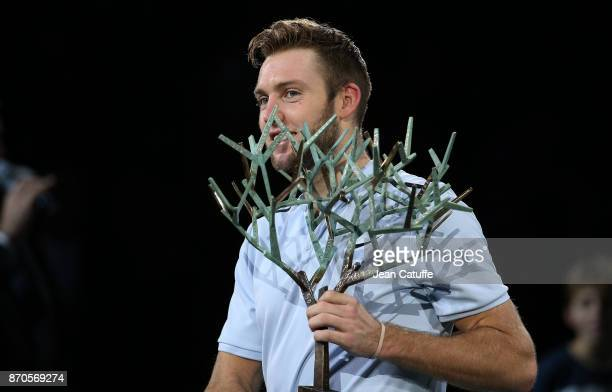 Jack Sock of USA holds the trophy following his victory in final against Filip Krajinovic of Serbia on day 7 of the Rolex Paris Masters 2017 a...
