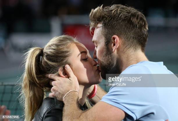 Jack Sock of USA kisses his girlfriend Michala Burns following winning the final against Filip Krajinovic of Serbia on day 7 of the Rolex Paris...