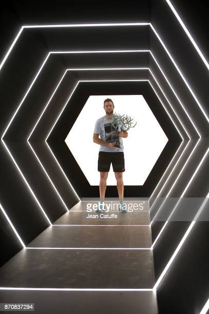 Jack Sock of USA poses with the trophy after winning the final against Filip Krajinovic of Serbia on day 7 of the Rolex Paris Masters 2017 a Masters...