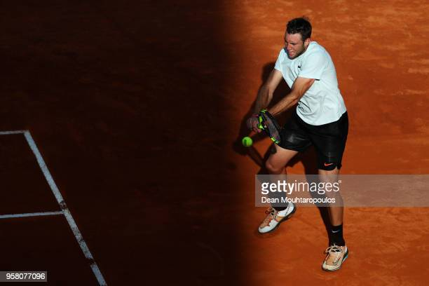Jack Sock of USA returns a backhand in his match against David Ferrer of Spain during day one of the Internazionali BNL d'Italia 2018 tennis at Foro...