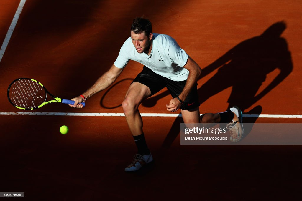 Jack Sock of USA returns a forehand in his match against David Ferrer of Spain during day one of the Internazionali BNL d'Italia 2018 tennis at Foro Italico on May 13, 2018 in Rome, Italy.