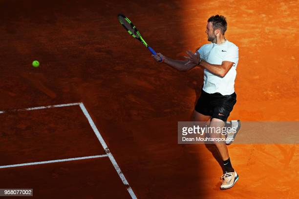 Jack Sock of USA returns a forehand in his match against David Ferrer of Spain during day one of the Internazionali BNL d'Italia 2018 tennis at Foro...