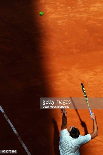 Jack Sock of USA serves in his match against David Ferrer of Spain during day one of the Internazionali BNL d'Italia 2018 tennis at Foro Italico on...