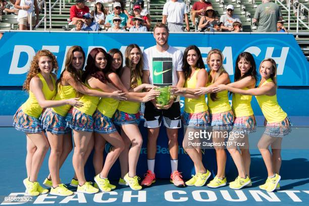 Jack Sock of USA with the Championship Singles Trophy after a walkover against Milos Raonic of Canada at the Delray Beach Open on February 26 2017 in...