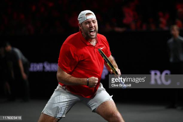 Jack Sock, playing partner of John Isner of Team World celebrates in his doubles match against Roger Federer and Stefanos Tsitsipas of Team Europe...