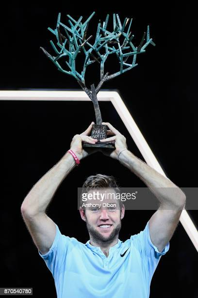 Jack Sock pose with the trophy during the Final of the Rolex Paris Masters at AccorHotels Arena on November 5 2017 in Paris France