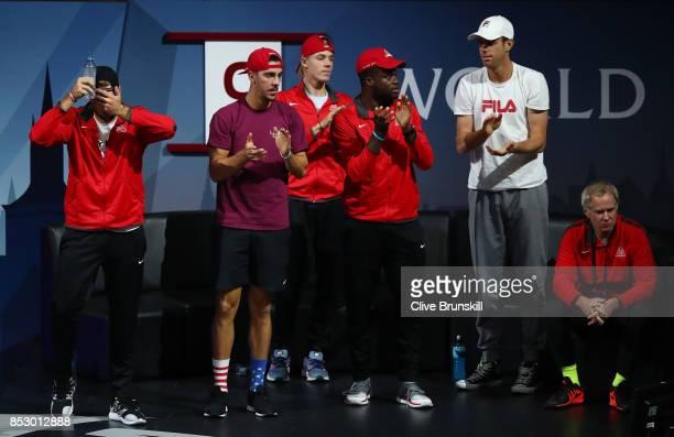Jack Sock Thanasi Kokkinakis Denis Shapovalov Frances Tiafoe Sam Querrey and Patrick Mcenroe watch Federer of Team Europe during his mens singles...