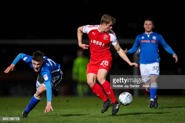 Jack Sowerby of Fleetwood Town and Ryan Delaney of Rochdale during the Sky Bet League One match between Rochdale and Fleetwood Town at Spotland...