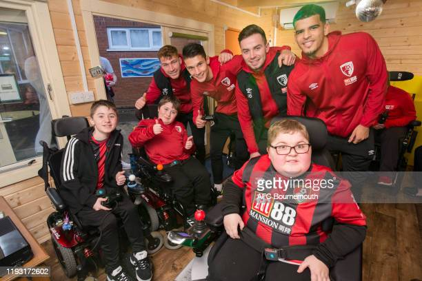 Jack Stacey, Alex Dobre, Matt Butcher and Dominic Solanke of Bournemouth during a visit to Julia's House Children's Hospice to deliver Christmas...