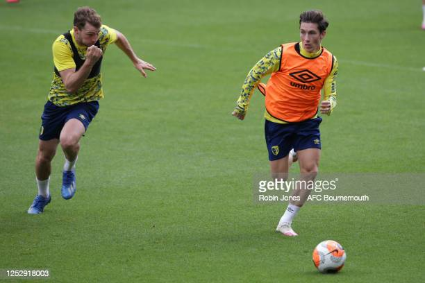 Jack Stacey and Harry Wilson of Bournemouth during a training session at the Vitality Stadium on June 27 2020 in Bournemouth England