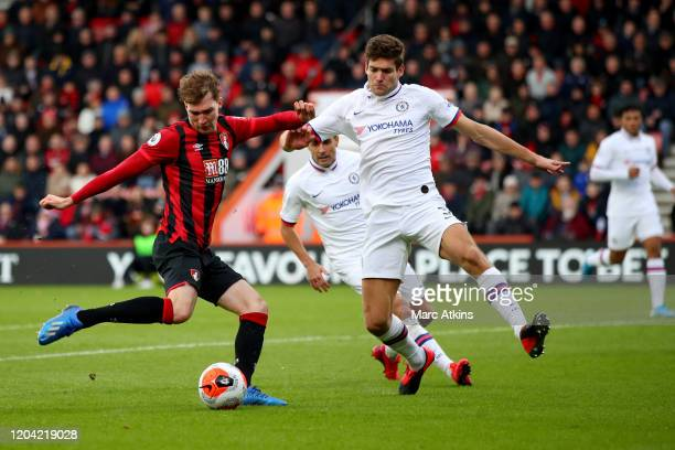 Jack Stacey of AFC Bournemouth in action with Marcos Alonso of Chelsea during the Premier League match between AFC Bournemouth and Chelsea FC at...