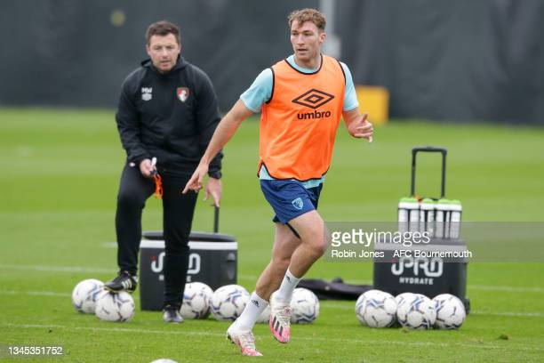 Jack Stacey of Bournemouth during a training session at the Vitality Stadium on October 07, 2021 in Bournemouth, England.