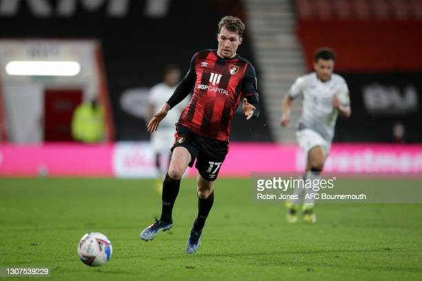 Jack Stacey of Bournemouth during the Sky Bet Championship match between AFC Bournemouth and Swansea City at Vitality Stadium on March 16, 2021 in...