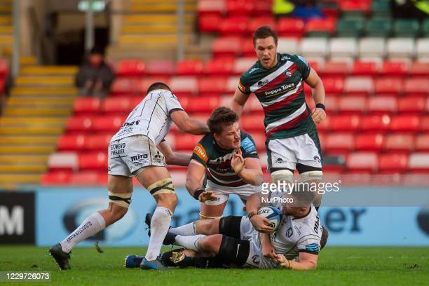 Jack Stanley of Gloucester Rugby during the Gallagher Premiership match between Leicester Tigers and Gloucester Rugby at Welford Road Leicester on...