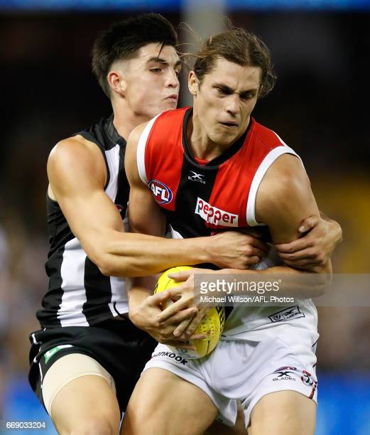 Jack Steele of the Saints is tackled by Brayden Maynard of the Magpies during the 2017 AFL round 04 match between the Collingwood Magpies and the St...