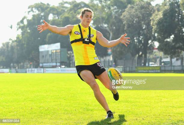 Jack Steele of the Saints kicks during a St Kilda Saints AFL training session at Trevor Barker Beach Oval on May 12 2017 in Melbourne Australia