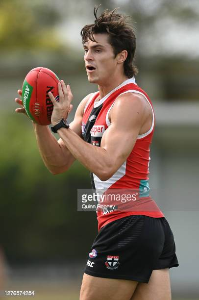 Jack Steele of the Saints marks during a St Kilda Saints AFL training session at Maroochydore Multi Sport Complex on September 25 2020 in Sunshine...