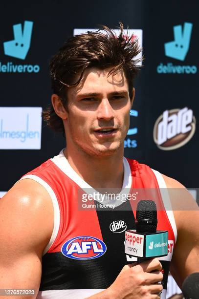 Jack Steele of the Saints talks to the media during a St Kilda Saints AFL training session at Maroochydore Multi Sport Complex on September 25 2020...