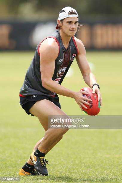 Jack Steele of the Saintslooks upfield during a St Kilda Saints AFL training session at Linen House Oval on November 15 2017 in Melbourne Australia