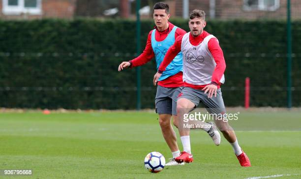 Jack Stephens and Guido Carrillo during a Southampton FC training session at the Staplewood Campus on March 22 2018 in Southampton England