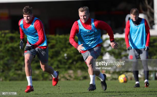 Jack Stephens and James WardProwse of Southampton FC during a training session at the Staplewood Campus on January 19 2018 in Southampton England