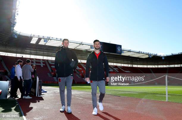 Jack Stephens and Shane Long of Southampton ahead of the Premier League match between Southampton and Liverpool at St Mary's Stadium on February 11...