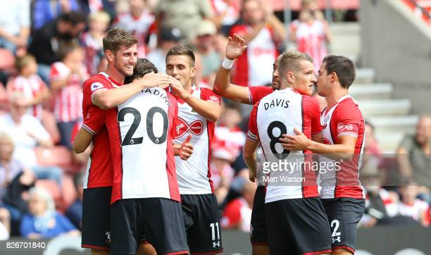 Jack Stephens celebrates his goal during the preseason friendly between Southampton FC and Sevilla at St Mary's Stadium on August 5 2017 in...