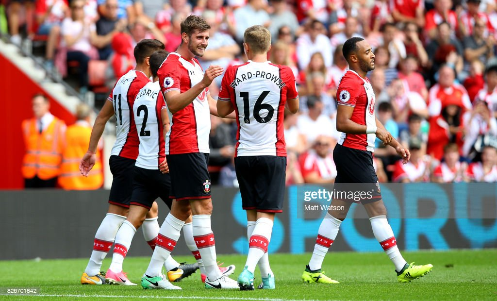 Jack Stephens celebrates his goal during the pre-season friendly between Southampton FC and Sevilla at St. Mary's Stadium on August 5, 2017 in Southampton, England.