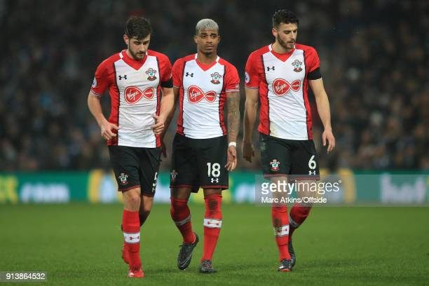 Jack Stephens Mario Lemina and Wesley Hoedt of Southampton during the Premier League match between West Bromwich Albion and Southampton at The...
