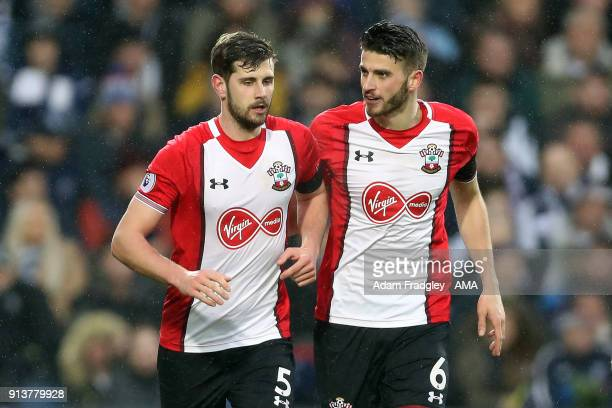 Jack Stephens of Southampton celebrates after scoring a goal to make it 12 with Wesley Hoedt of Southampton during the Premier League match between...