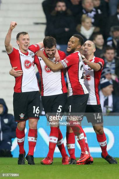 Jack Stephens of Southampton celebrates after scoring a goal to make it 12 with team mates during the Premier League match between West Bromwich...