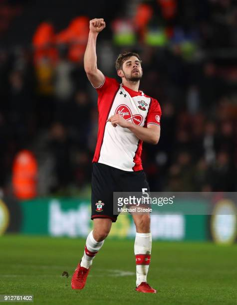 Jack Stephens of Southampton celebrates after scoring his sides first goal during the Premier League match between Southampton and Brighton and Hove...