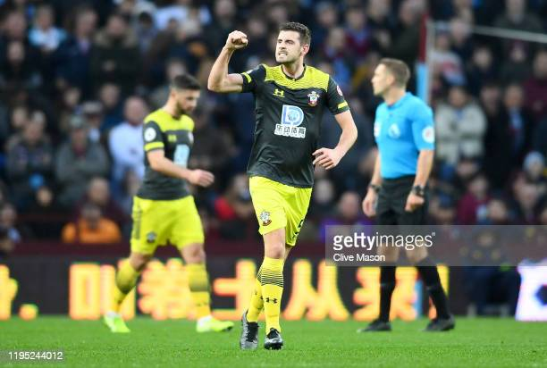 Jack Stephens of Southampton celebrates after scoring his team's second goal during the Premier League match between Aston Villa and Southampton FC...