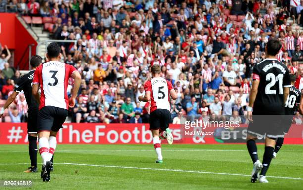 Jack Stephens of Southampton celebrates during the preseason friendly between Southampton FC and Sevilla at St Mary's Stadium on August 5 2017 in...