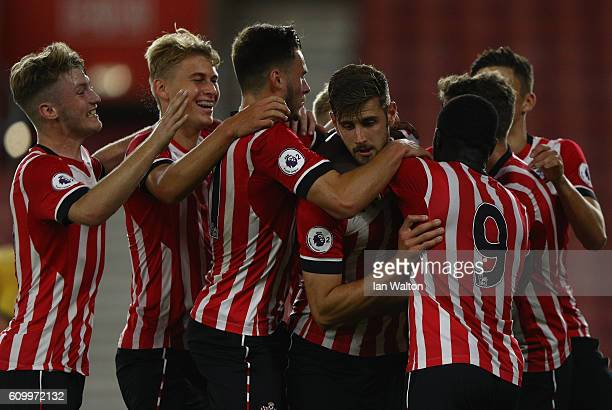 Jack Stephens of Southampton celebrates scoring a goal during the Premier League 2 match between Southampton v Tottenham Hotspur at St Mary's Stadium...