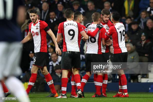 Jack Stephens of Southampton celebrates scoring his side's second goal with team mates during the Premier League match between West Bromwich Albion...