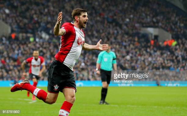 Jack Stephens of Southampton FC celebrates after puuting his team 21 up during the Premier League match between West Bromwich Albion and Southampton...