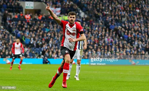 Jack Stephens of Southampton FC celebrates during the Premier League match between West Bromwich Albion and Southampton at The Hawthorns on February...