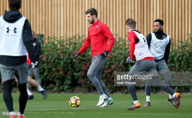Jack Stephens of Southampton FC during a training session at the Staplewood Campus on February 8 2018 in Southampton England
