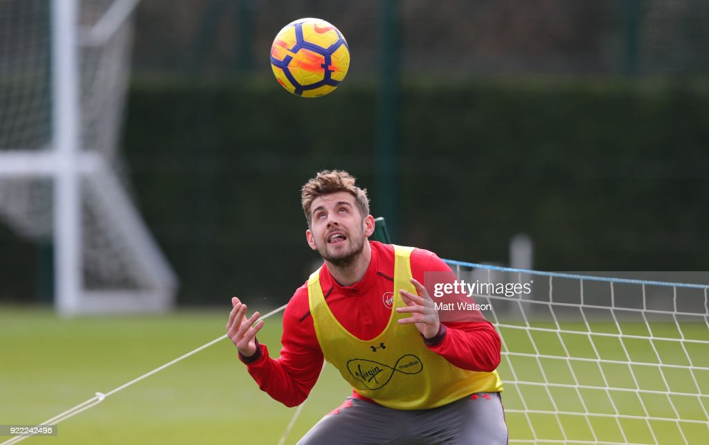 Jack Stephens of Southampton FC during a training session at the Staplewood Campus on February 20, 2018 in Southampton, England.