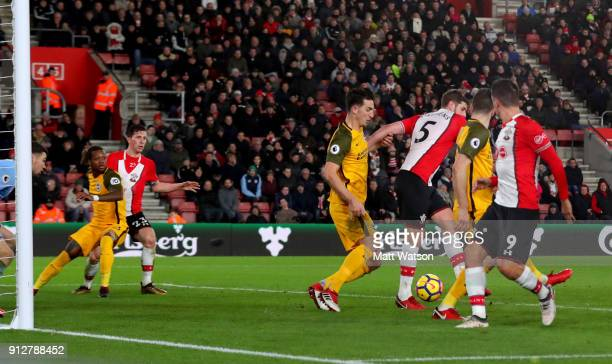Jack Stephens of Southampton FC scores during the Premier League match between Southampton and Brighton and Hove Albion at St Mary's Stadium on...